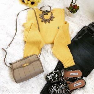 Polo Oversized Boyfriend Yellow Sweater SZ XL